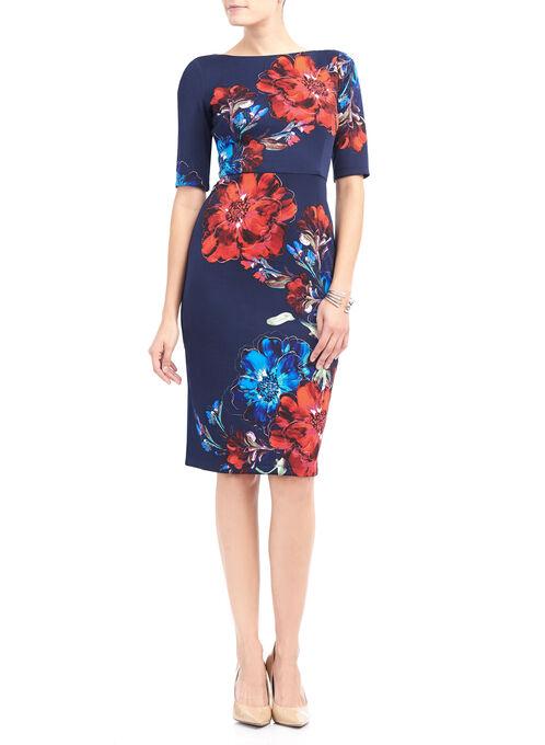 Maggy London Printed Scuba Dress, Blue, hi-res