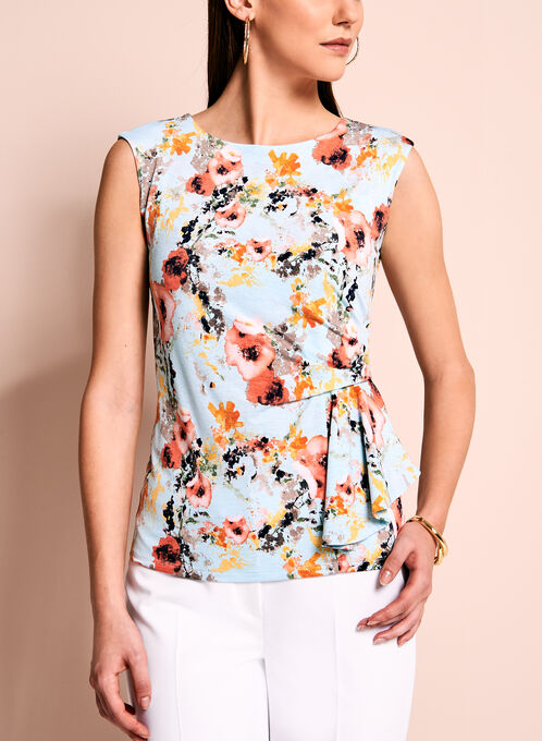 Floral Print Side Drape Top, Blue, hi-res