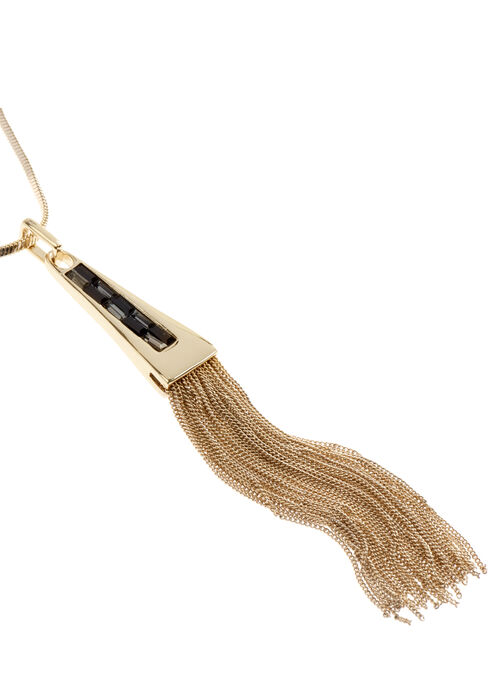 Snake Chain Tassel Necklace , Black, hi-res