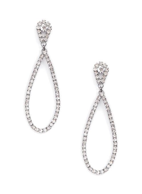 Boucles d'oreilles gouttes ajourées en cristaux, Gris, hi-res