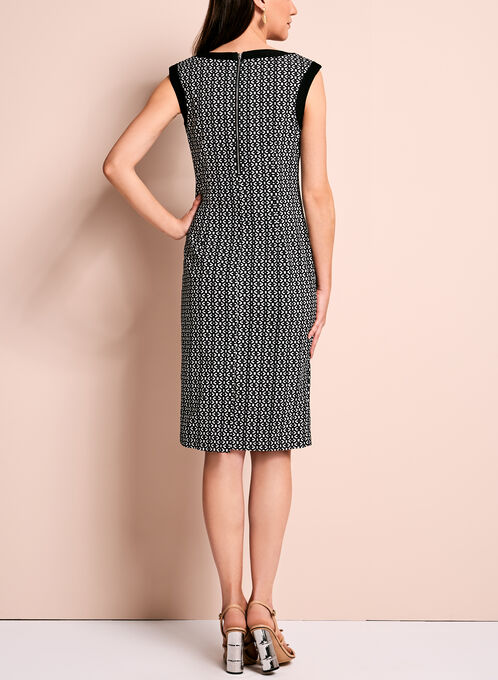 Graphic Print Sleeveless Sheath Dress, Black, hi-res