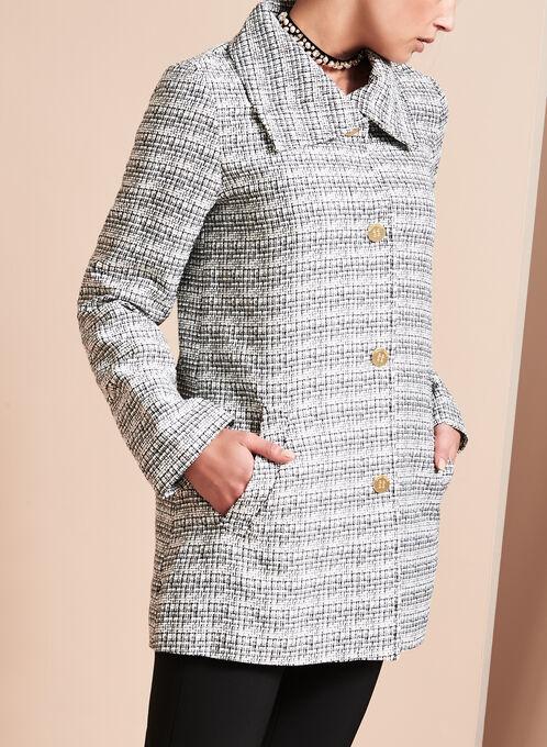 Manteau en tweed à col montant , Noir, hi-res
