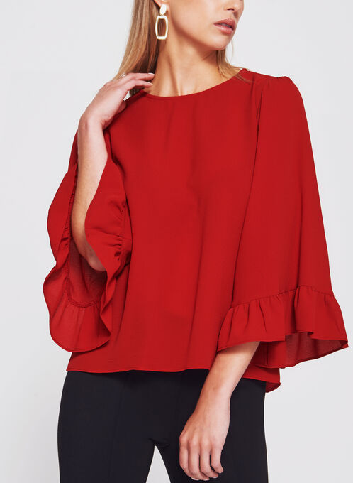 Bubble Crepe Bell Sleeve Top, Red, hi-res