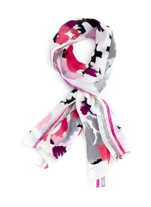 Silk Floral Print Scarf , Pink, hi-res