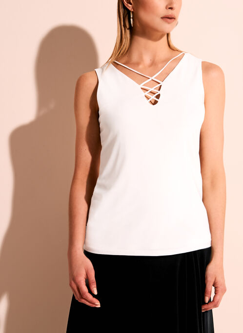 Sleeveless Lace Front Blouse, Off White, hi-res