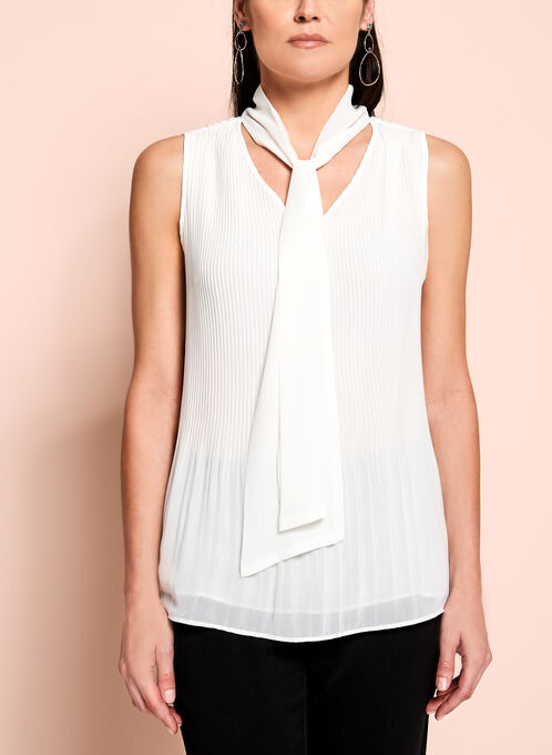 Sleeveless Tie Front Pleated Blouse, Off White, hi-res