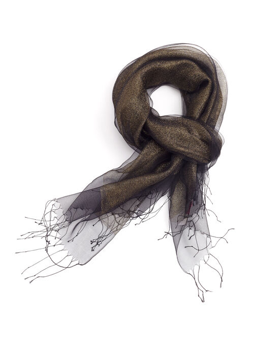 Sheer Ombré Wrap Scarf, Black, hi-res