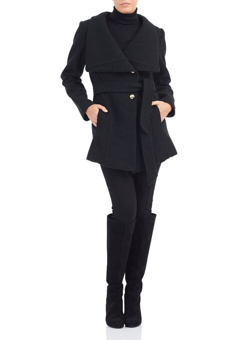 Jessica Simpson Braided Wool Blend Coat, Black, hi-res