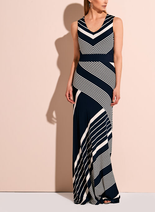 Graphic Stripe Jersey Maxi Dress, Blue, hi-res