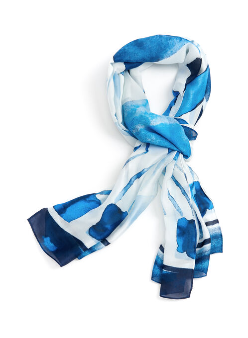 Oblong Abstract Print Scarf, Blue, hi-res