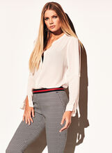 Long Sleeve Cold Shoulder Blouse, Off White, hi-res