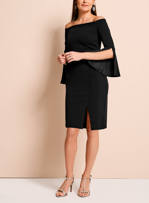 Off The Shoulder Crepe Dress, Black, hi-res