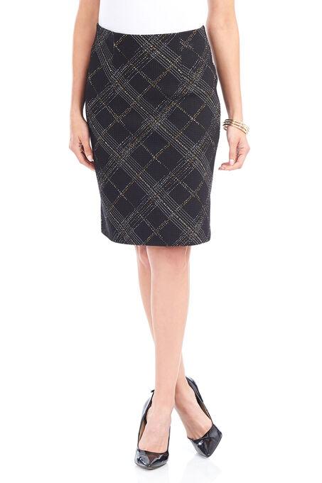 Trisisto Plaid Pencil Skirt, Black, hi-res