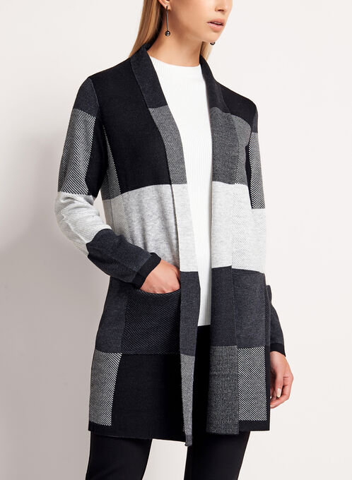 Checkered Knit Shawl Cardigan, Black, hi-res