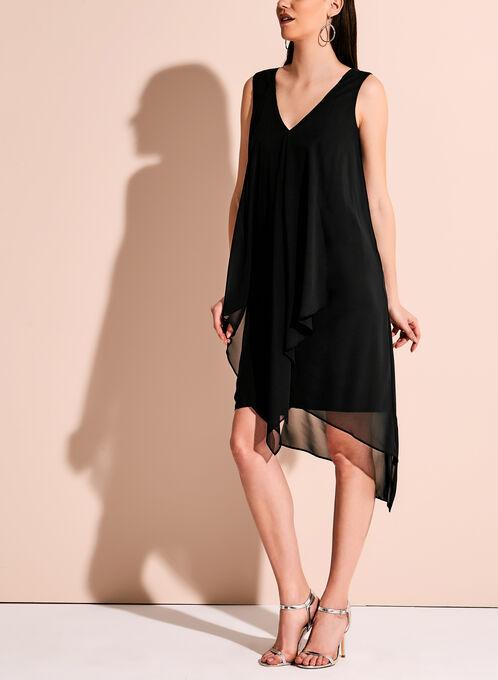 Sleeveless V-neck Asymmetric Dress, Black, hi-res