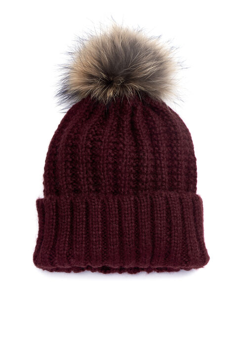 Ribbed Knit Racoon Fur Tuque , Red, hi-res