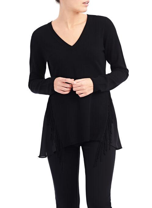 V-Neck Fringe Trim Sweater, Black, hi-res