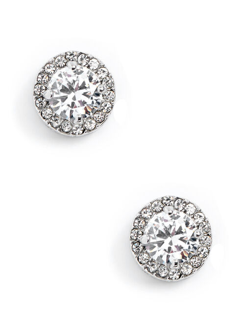 Crystal Stud Earrings, Silver, hi-res