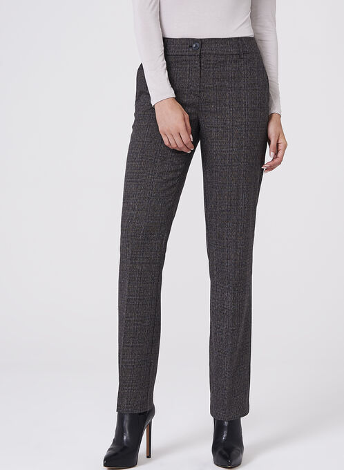 Plaid Straight Leg Pants , Grey, hi-res