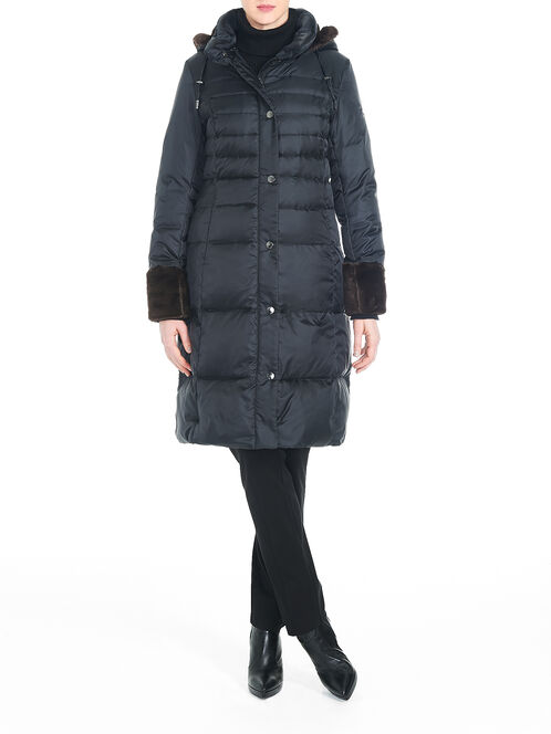 Faux Fur Cuff Down-Filled Puffer Coat, Black, hi-res
