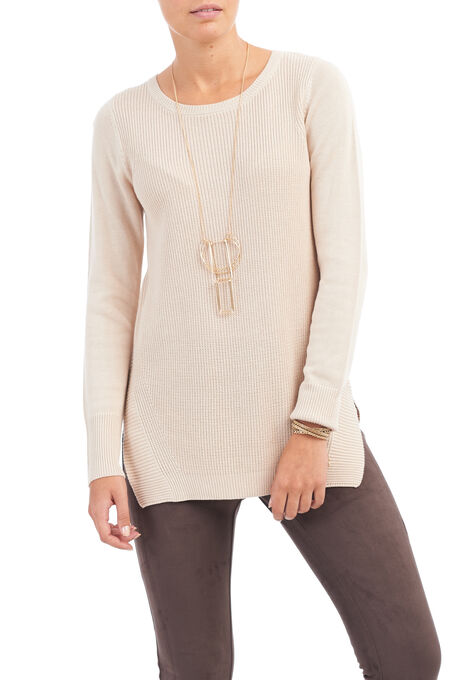 Long Sleeve Ribbed Tunic Top, Brown, hi-res