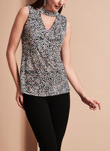 Sleeveless Geometric Print Choker Top, Black, hi-res