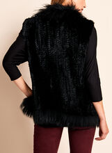 Sleeveless Fur Vest , Black, hi-res