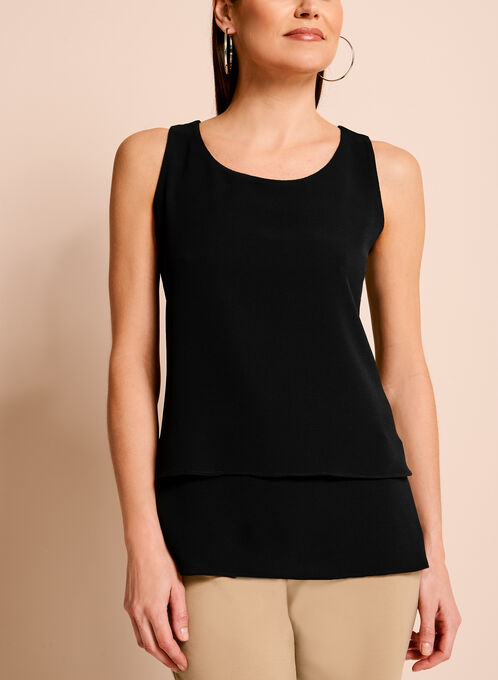 Sleeveless Double Layer Crepe Blouse, Black, hi-res