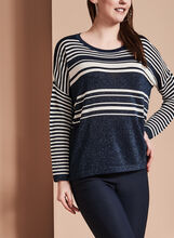Striped Lurex Knit Sweater, , hi-res