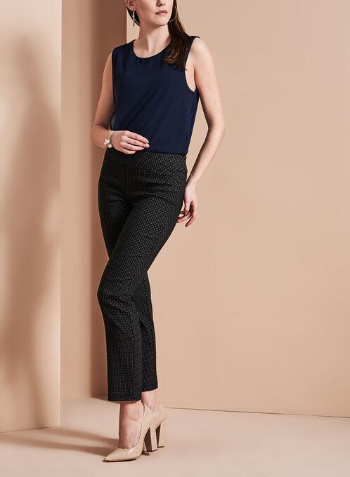 Pantalon 7/8 à motif jacquard, Noir, hi-res
