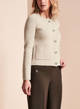 Notch Collar Knit Cardigan, Grey, hi-res