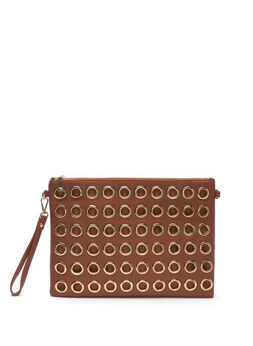 Faux Leather Grommet Clutch, Brown, hi-res