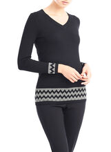 Mitered Knit Top with Scarf, Black, hi-res