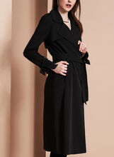 Novelti Bow Detail Trench Coat, Black, hi-res