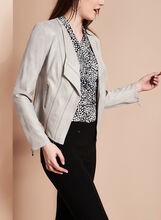 Faux Leather Cascade Jacket, Grey, hi-res