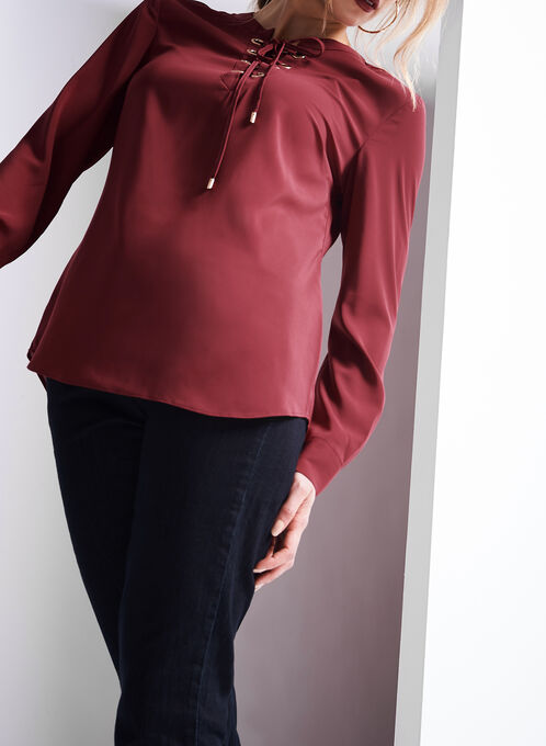 Long Sleeve Lace-Up Blouse, Red, hi-res