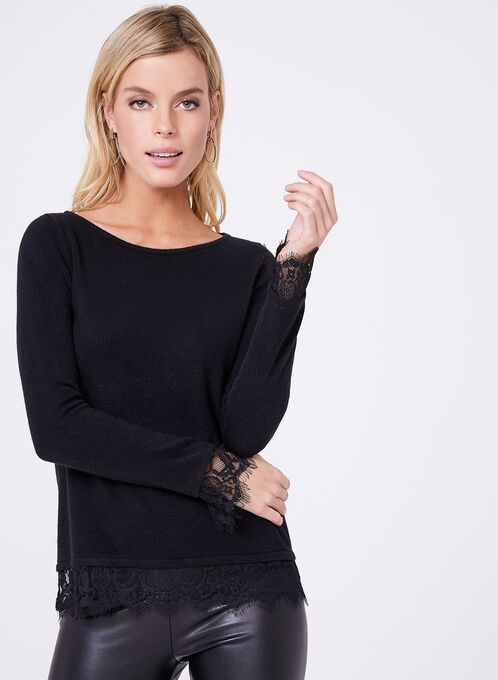 Scalloped Lace Trim Sweater, Black, hi-res