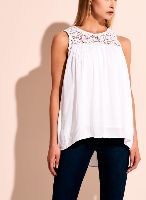 High Low Lace Yoke Blouse, White, hi-res