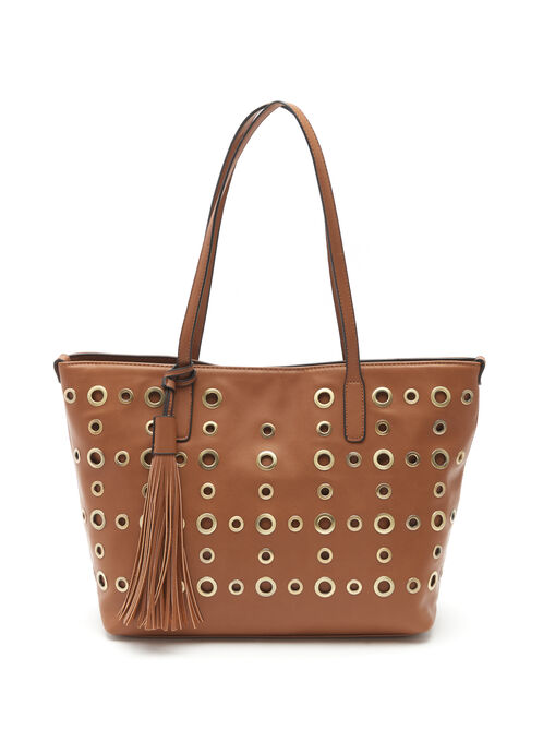 Eyelet & Tassel Tote Bag, Brown, hi-res