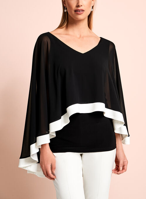 Frank Lyman V-Neck Capelet Blouse, Black, hi-res