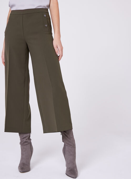 Wide Leg Culotte Pants , Green, hi-res
