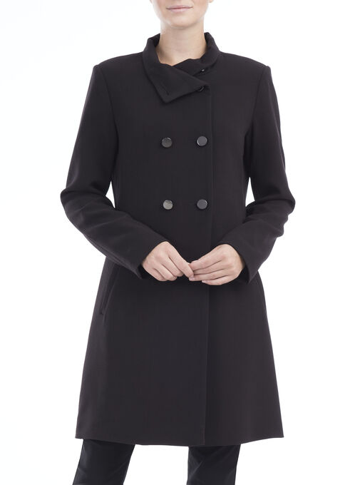 Stand Collar Double Breasted Coat , Black, hi-res
