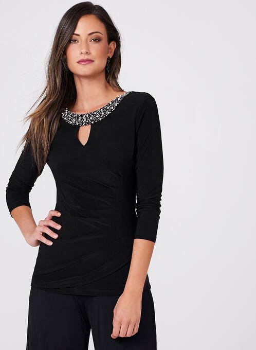 Frank Lyman - Pleated Crystal Embellished Top , Black, hi-res