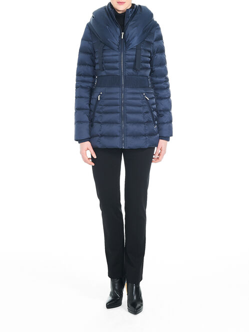 Down-Filled Hooded Cinched Waist Coat, Blue, hi-res