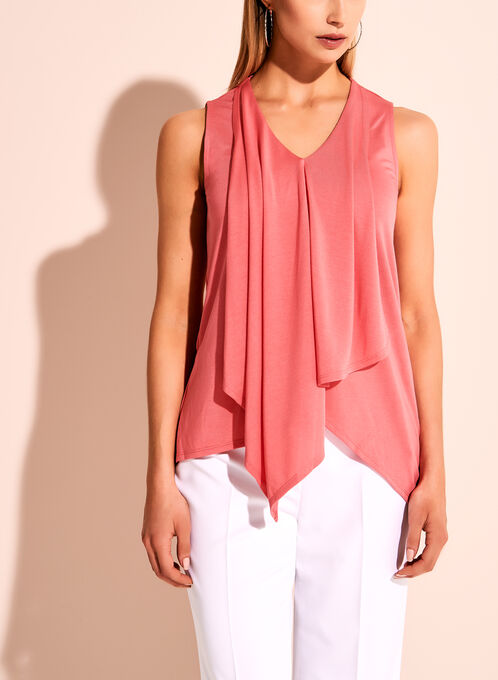 Ruffle Trim V-Neck Sleeveless Top, Pink, hi-res