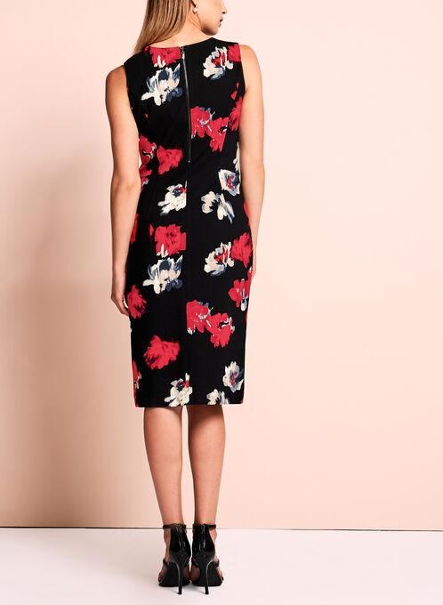 Watercolour Floral Print Sheath Dress, Black, hi-res