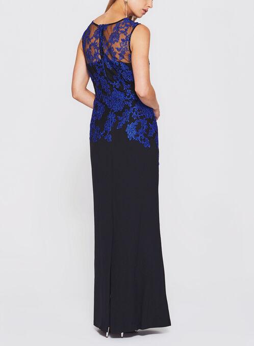 Lace Bodice Crepe Dress, Black, hi-res