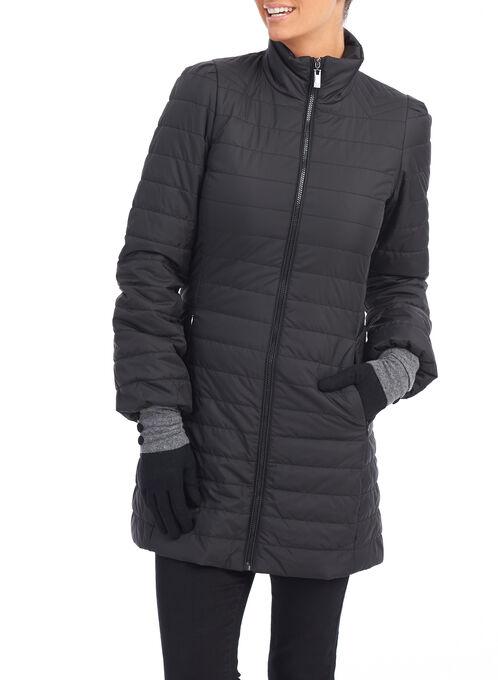 Faux Down Stand Collar Coat, Black, hi-res