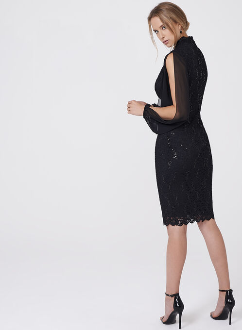 BA Nites - Choker Neck Sequin Lace Dress, Black, hi-res