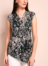 Abstract Floral Print Faux Wrap Top, , hi-res